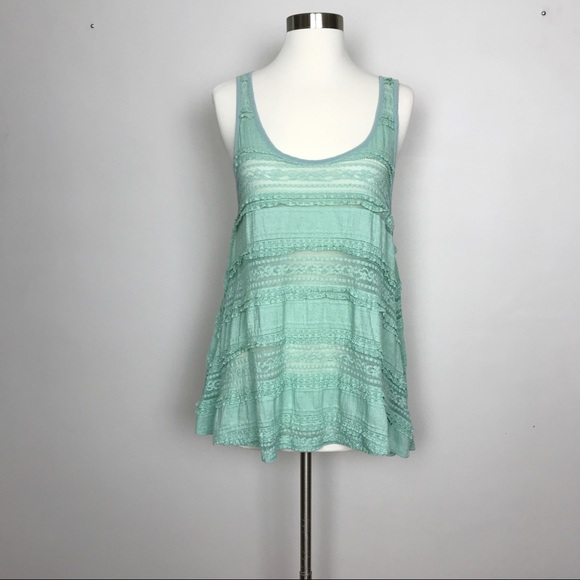 Anthropologie Tops - Anthropologie | Pins & Needles Mint Lace Top Sz S